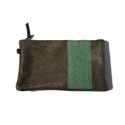 Modèle Pignot: Pochette cuir pailleté kaki et cuir de poisson vert bouteille