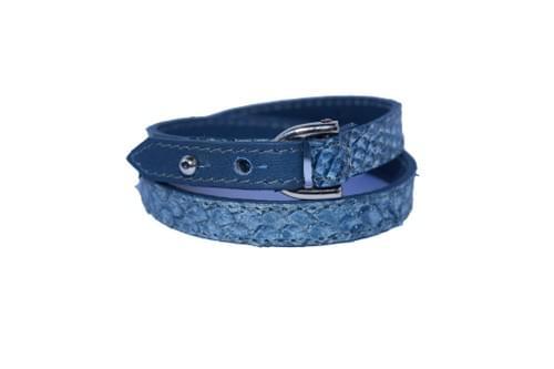Vacances côtières: bracelet double tour denim pailleté et bleu lapon
