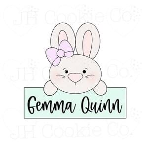 JH COOKIE CO - GIRL BUNNY NAME PLAQUE