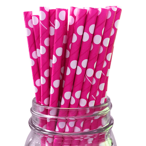 PAPER STRAWS - PINK AND WHITE POLKA DOTS