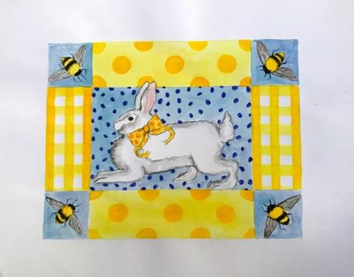 bunny and bees