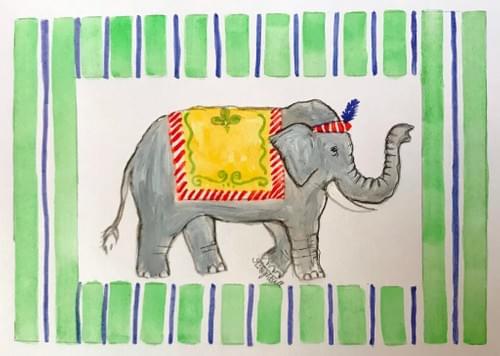 elephant in green