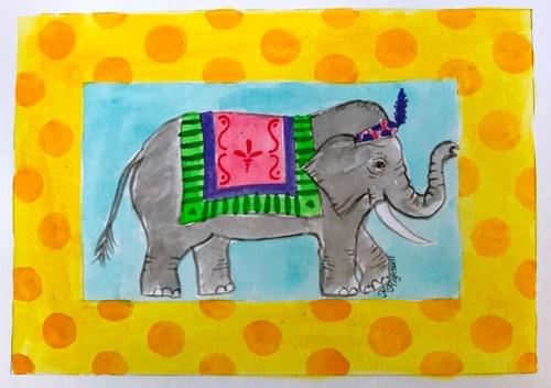 elephant in yellow