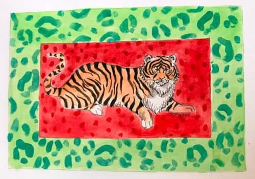 Tiger in green & red