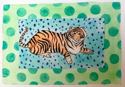 tiger in green spots