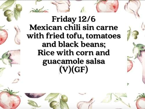 Plant based lunch Friday 12/6