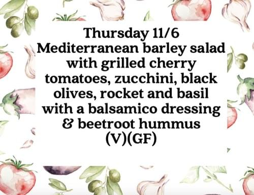 Plant based lunch Thursday 11/6