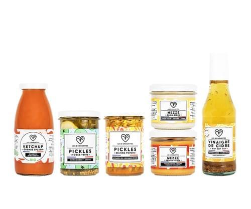 COFFRET SPÉCIAL RENTRÉE 2 pickles bio  + 2 mezzés bio + 1 ketchup bio  + 1 vinaigre bio
