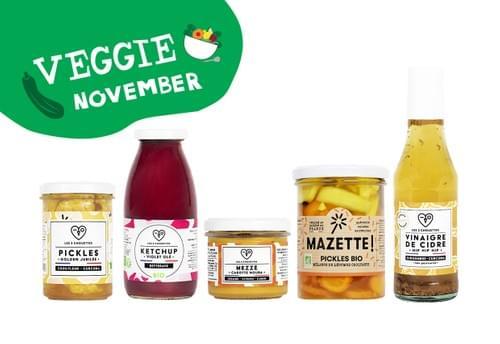 COFFRET VEGGIE NOVEMBER - 2 pickles bio (2x210g) + 1 mezzé bio 100g + 1 vinaigre bio + 1 ketchup bio