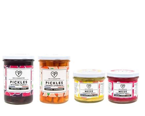 COFFRET PIMPE TON APÉRO - 2 pickles bio (1x210g ; 1x400) et 2 mezzés bio (2x100g)