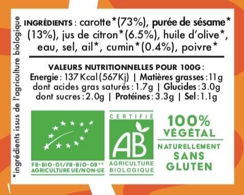 MEZZÉ CAROTTE NOUBA - Carotte Sésame Citron Cumin (100 g)