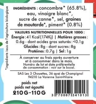 PICKLES FORCE ROUGE - Concombre Piment (210g)