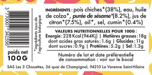 MEZZÉ HOUMOUS MUSIC - Pois chiche sésame citron cumin (100 g)