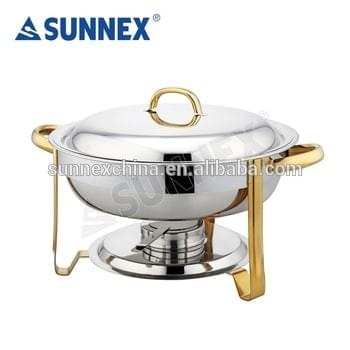 Set Of 3 Round 8.5 Litre Chafing Dish with Steel Lid//BUFFET DISH//FOOD WARMER