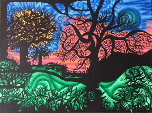 Sun. Moon and Trees