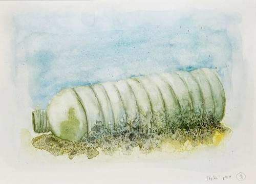 Bouteille en plastique à la mer