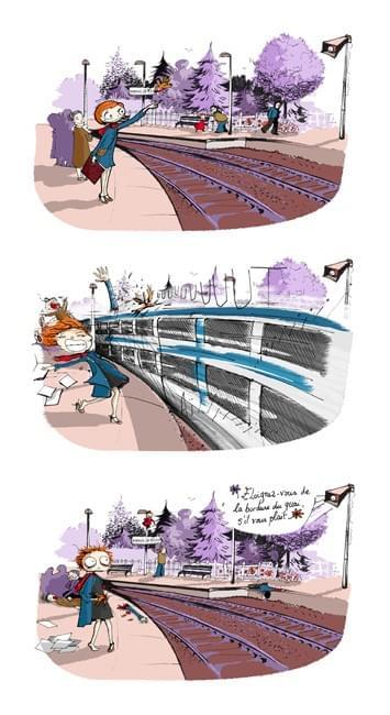Impression d'un dessin d'humour - Réquisitoire contre la SNCF - sur papier A4 200g