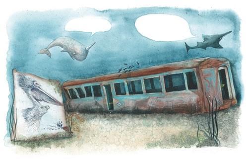 """L'épave du métro, pages 54-55 pour """"l'âge bleu, sauver l'océan"""""""
