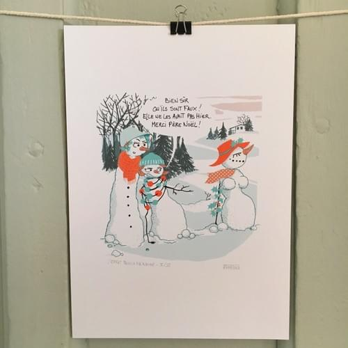 Impression d'un dessin d'humour - L'effet boule de neige - sur papier A4 200g