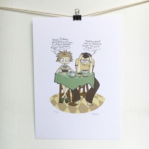 Impression d'un dessin d'humour - Méditations matinales - sur papier A4 200g