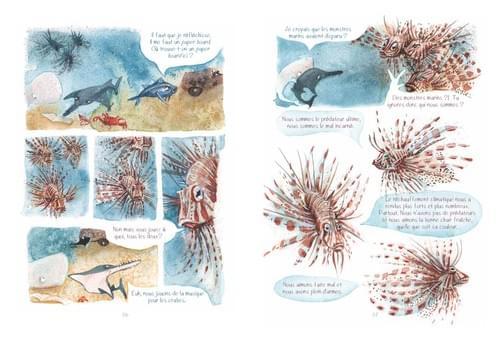 """Les poissons lions, pages 86-87 de """"L'âge bleu, sauver l'océan"""""""