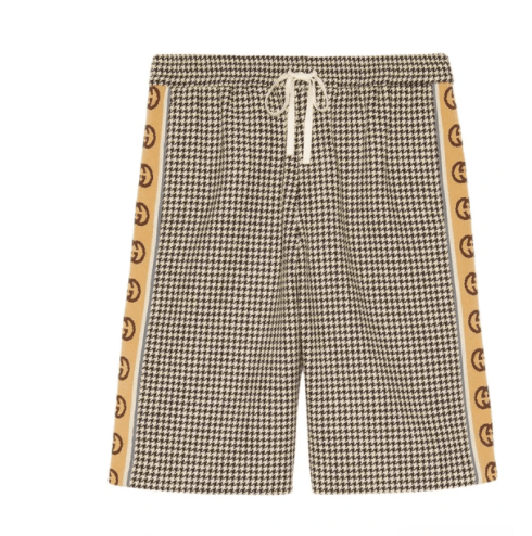 GUCCI Interlocking G stripe houndstooth shorts