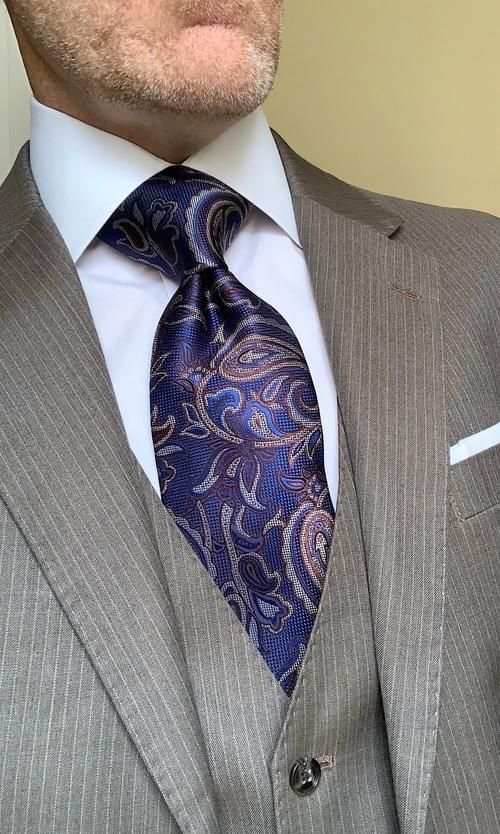 Blue Brown Silver Paisley Tie