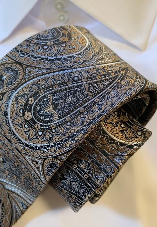 Bronze Silver Black Paisley Tie