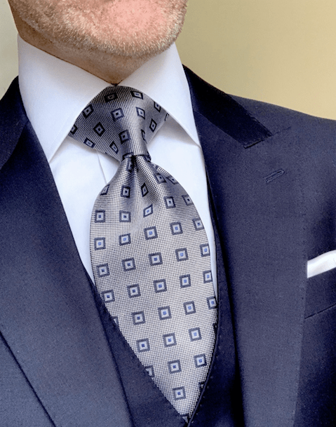 NEW -  Navy Blue Square Dots Tie