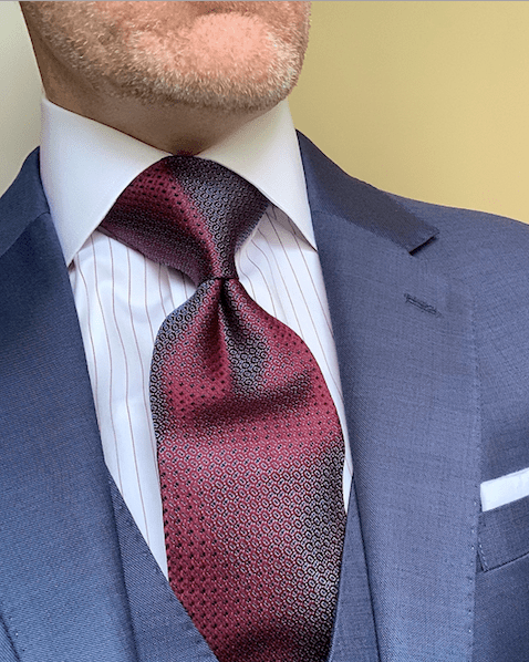 Red with Light Blue Box Pattern Tie