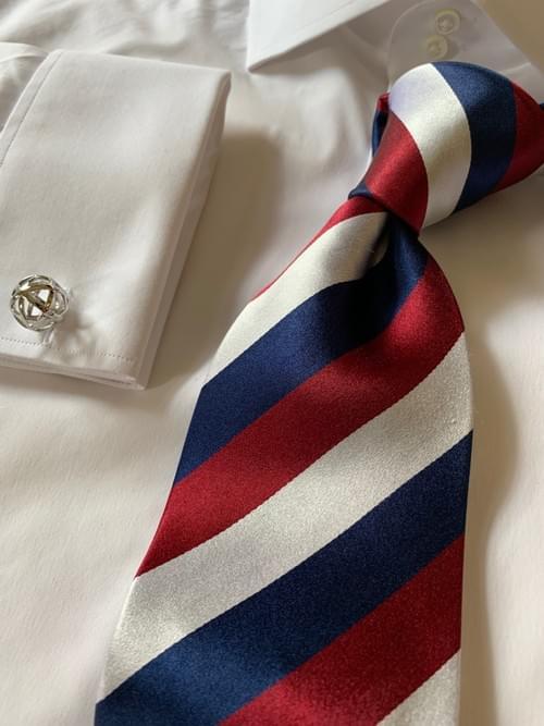 Classic Navy Rep Striped Tie - Burgundy
