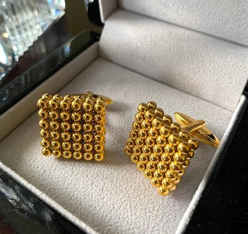 NEW - 24k Gold Plated Steel Pearls Cufflinks
