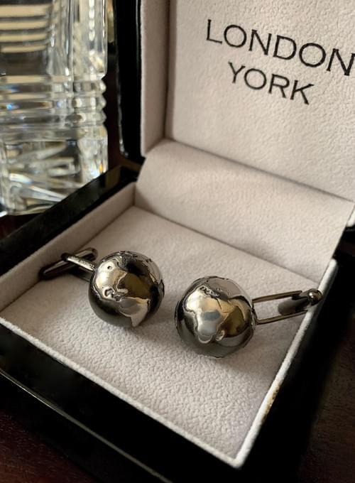 NEW - Black & Steel Globe Cufflinks