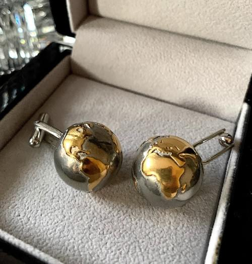 NEW - Two Tone Gold and Steel Globe Cufflinks