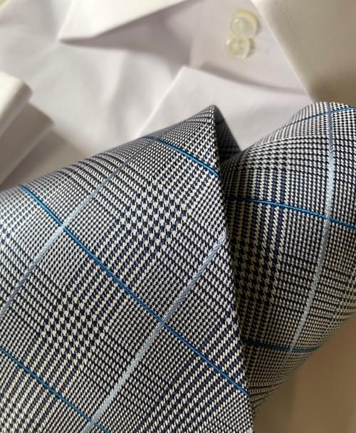 NEW - Light Blue Glen Plaid Tie