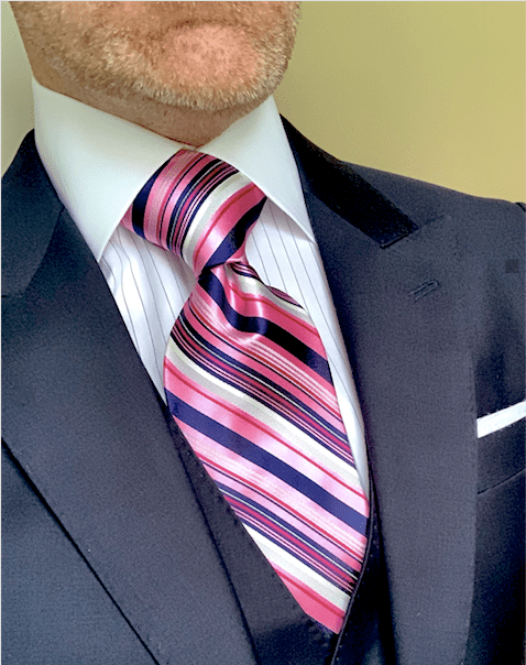 NEW - Pink Navy Power Striped Tie