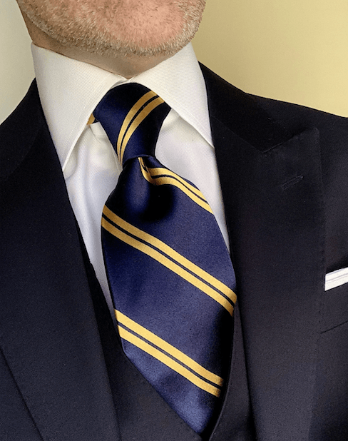 NEW - Navy with Gold Academic Stripe Tie