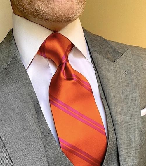 NEW - Orange with Fuchsia Academic Stripe Tie