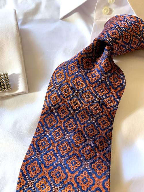 NEW - Orange Navy Executive Tapestry Tie