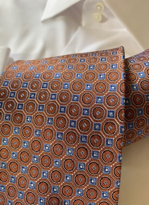 Orange Blue Circle Hex Tie