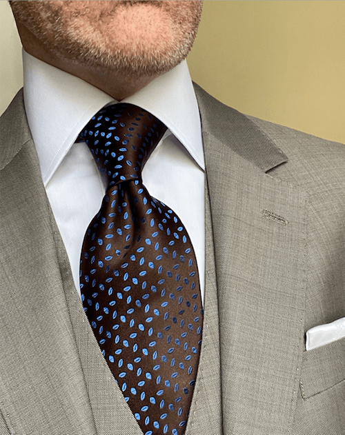 NEW - Brown with Blue Autumn Leaves Satin Tie