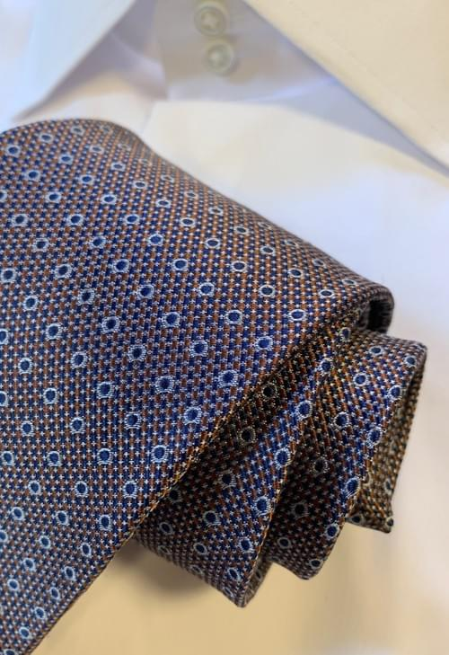Brown and Navy Micro-Weave Tie