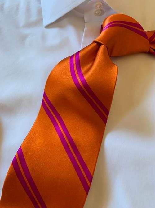 Orange with Fuchsia Academic Stripe Tie