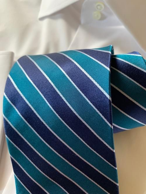 Teal Navy Striped Tie