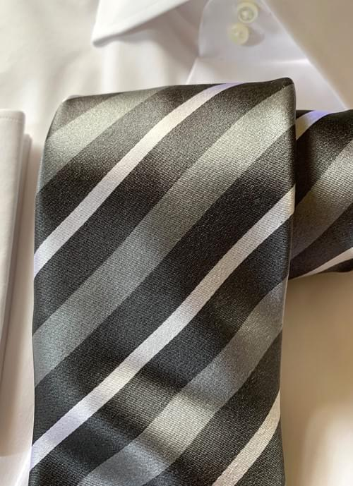 Gabriel Grey Striped Tie