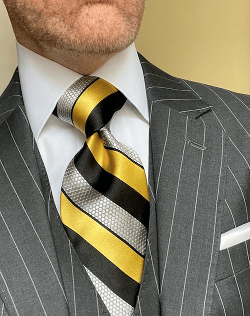 NEW - Gold Black Hexagon Striped Tie