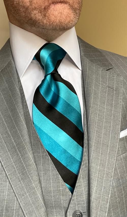 NEW - Aqua Blue Black Satin Striped Tie