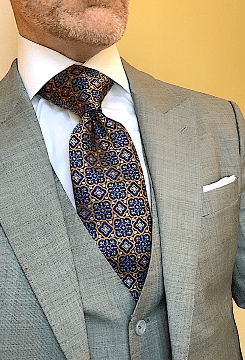 BACK IN STOCK - Gold Green Blue Stained Glass Tie