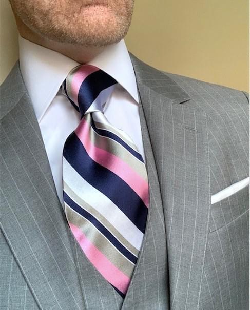 NEW - Lukas Striped Tie - Pink