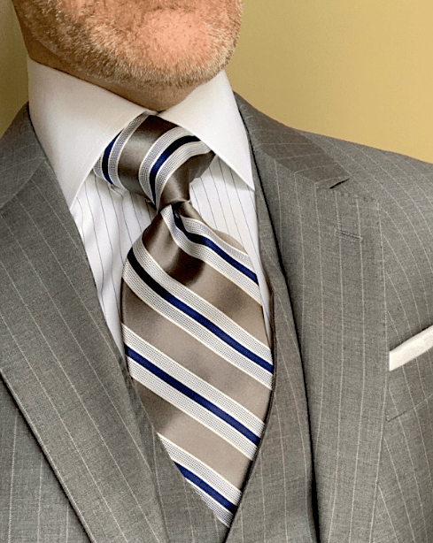 CLEARANCE:  Silver Navy Satin Striped Tie